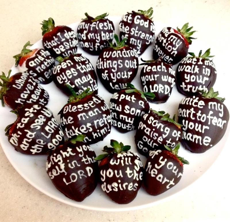 Chocolate Writing on Strawberries